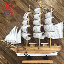 LUCKK 33CM Handmade Burlywood Mediterranean Wooden Miniatures Sailing Model Wood Boat Room Decoration Crafts Figurines Ornaments
