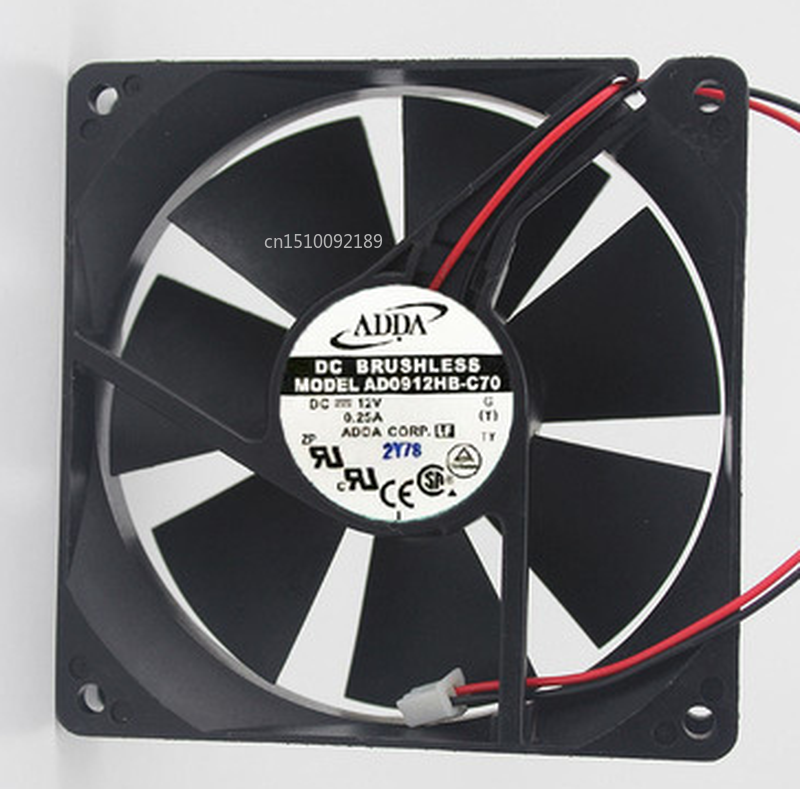 Free Shipping 90*20MM AD0912HB-C70 12V 0.25A 2 Wires 9CM Case Fan Axial Cooler