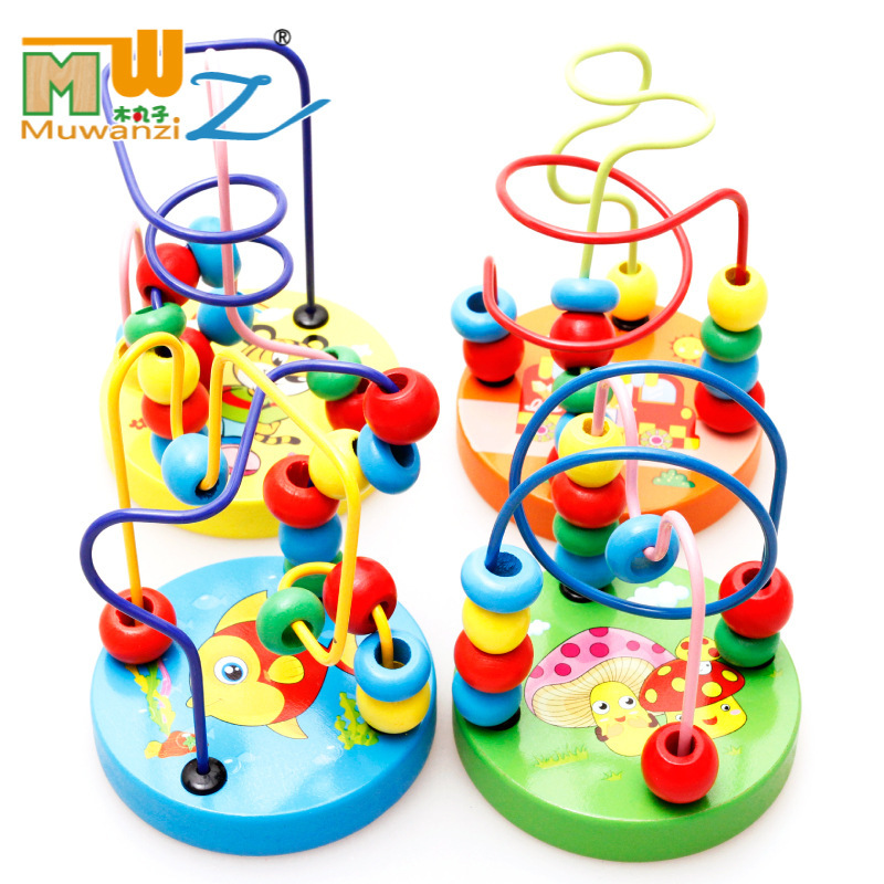 Children'S Educational Wooden Color Small Bead-stringing Toy Mini Animal Bead-stringing Toy Small Round Bead-stringing Toy Beade