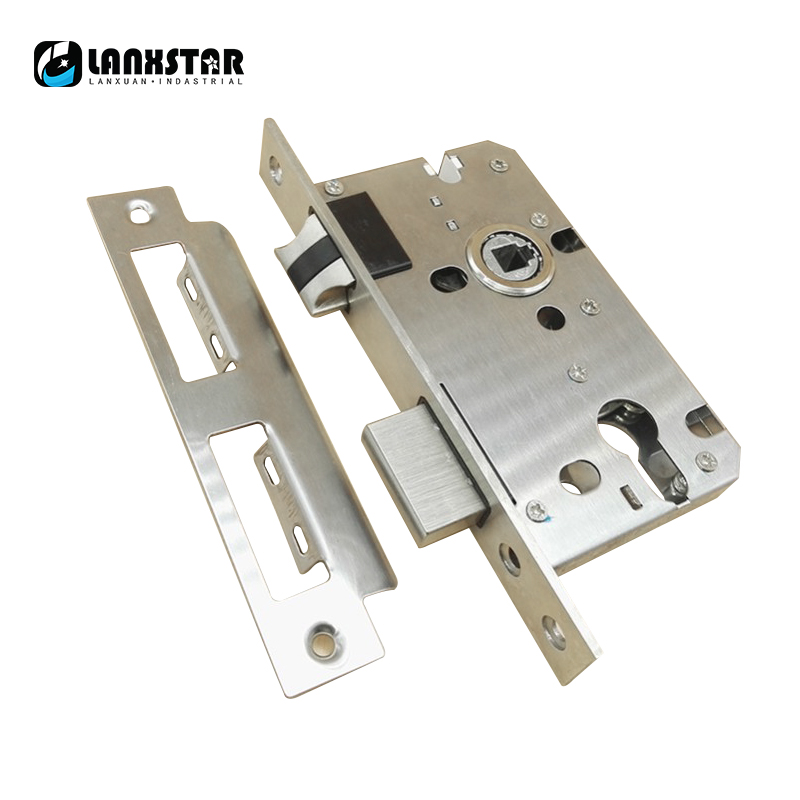 Luxury 304 Stainless Steel Big 58Size Handle Lock Lockbody Nylon Mute Harping Oblique Tongue Double Pulley And Bearing Lock Body