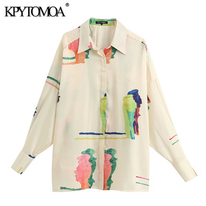 KPYTOMOA Women 2020 Fashion Print Loose Blouses Vintage Lapel Collar Long Sleeve Female Shirts Blusas Chic Tops