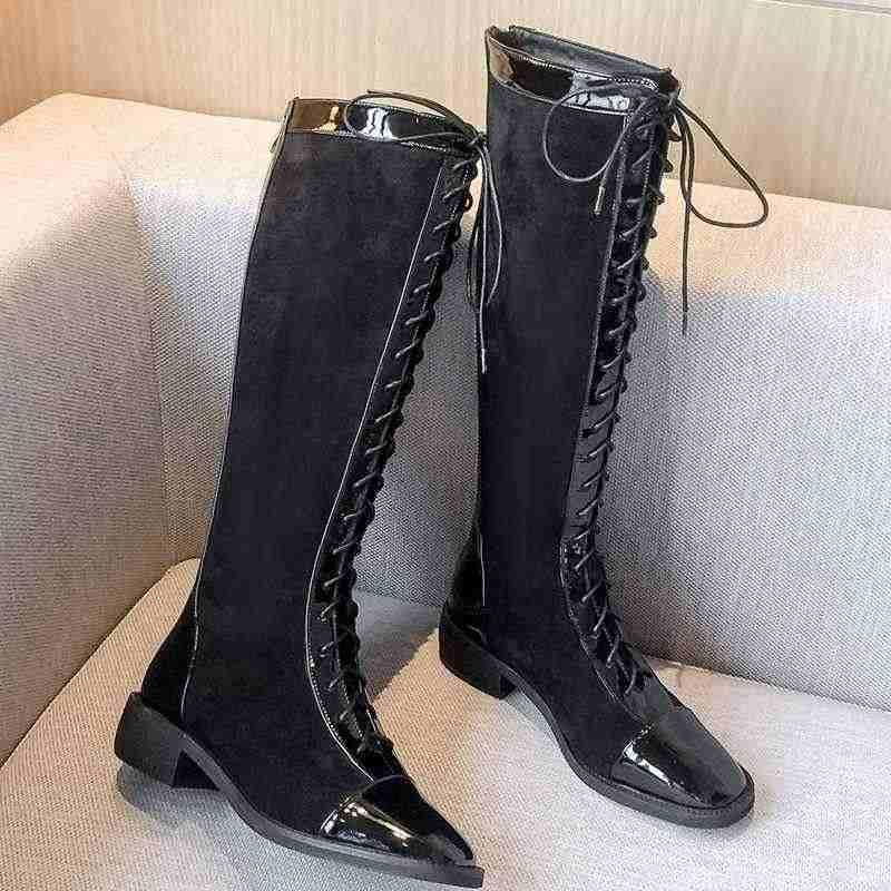 Krazing pot sıcak İngiliz vintage lace up şövalye çizmeler inek deri patchwork med topuklu yuvarlak ayak sıcak kadın uyluk yüksek çizmeler L61