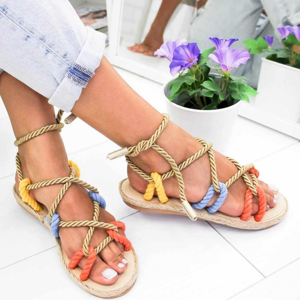 Scarpe donna Roma Pantofole estive Corda di Canapa Piatto Del Merletto Spiaggia Open Toe Sandali bayan sandalet zapatos de mujer de moda 2019