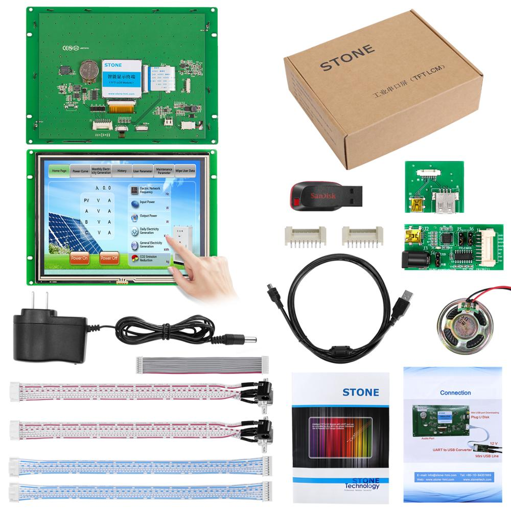 8 Inch Graphical Control HMI  Panel LCD With Program + Touch Screen + Serial Interface Support Any MCU