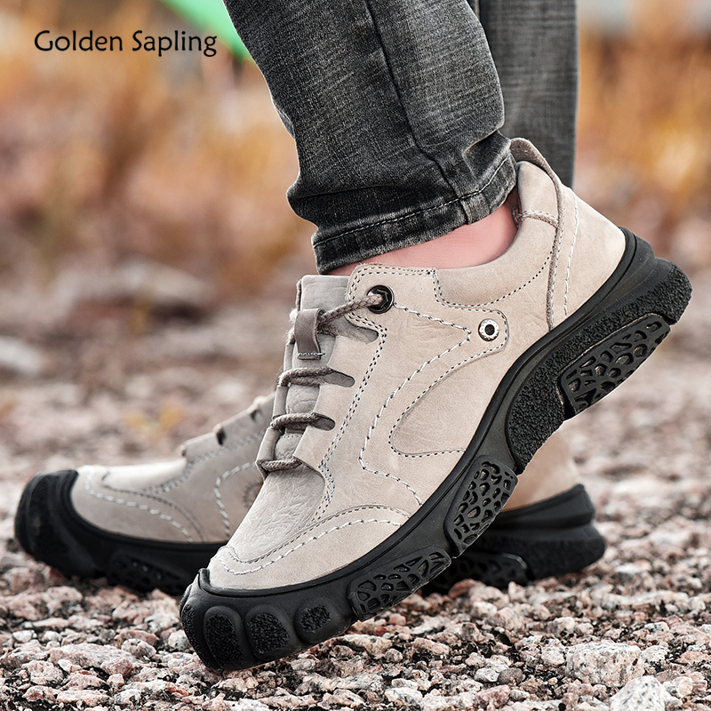 Golden Sapling Genuine Leather Tactical Shoes Men Outdoor Mountain Trekking Boots Breathable Soft Rubber Men's Hiking Sneakers
