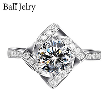 Women Ring Jewelry-Accessories Zircon Bali Jelry Geometric-Shaped Gemstone Silver 925