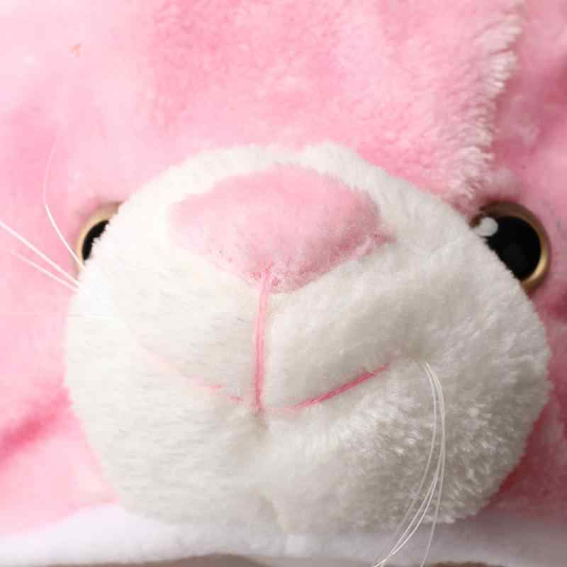 Розовый кролик шапки с ушками Мультфильм Плюшевая теплая шапка наушник шарф перчатки милые Мультяшные животные со шляпами + шарф + перчатки все в 1