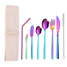 2019new  Portable Cutlery Set Stainless Steel Tableware Fruit Forks Dinner Knives Dessert Spoons with Straw Bag