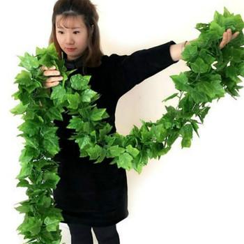 2 4M sztuczne rośliny zielone bluszcz zielony liść girlanda roślinna sztuczne pnącze kwiaty dekoracyjne plastikowe sztuczne kwiaty tanie i dobre opinie HYBRID Kwiat Ciąg Party Rattan