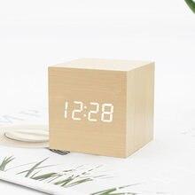 Цифровой деревянный квадратный светодиодный Будильник Деревянные