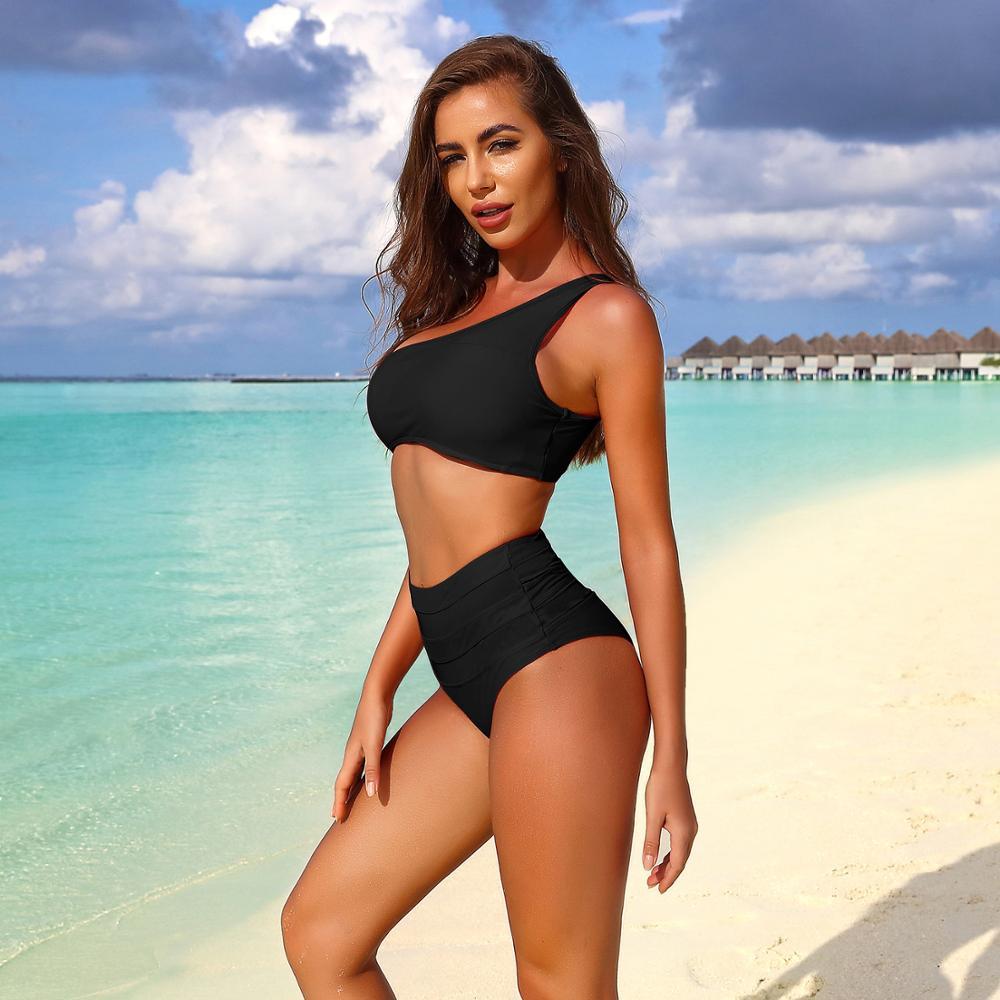 High Waist Bikini Swimsuit Women Swimwear One Shoulder Push Up Bikini Set Sexy Bathing Suit Beach Wear Swimming Suit Beachwear