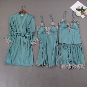 Свадебный халат для невесты, атласное ночное белье, кимоно, банное платье, Женский Повседневный пижамный комплект из 4 предметов, ночная руб...