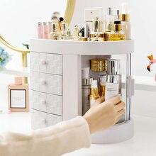 Boîte de rangement Table de toilette à 4 tiroirs   Porte-boîte de rangement Transparent, fenêtre rotative rouge à lèvres, organisateur pour brosses cosmétiques bijoux
