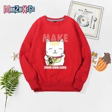 Hot Sale Girl Clothes Autumn Kids Sweatshirt Cartoon Maneki Neko Printed Boy Tops Children Clothing Kids Long Sleeve Clothes недорого