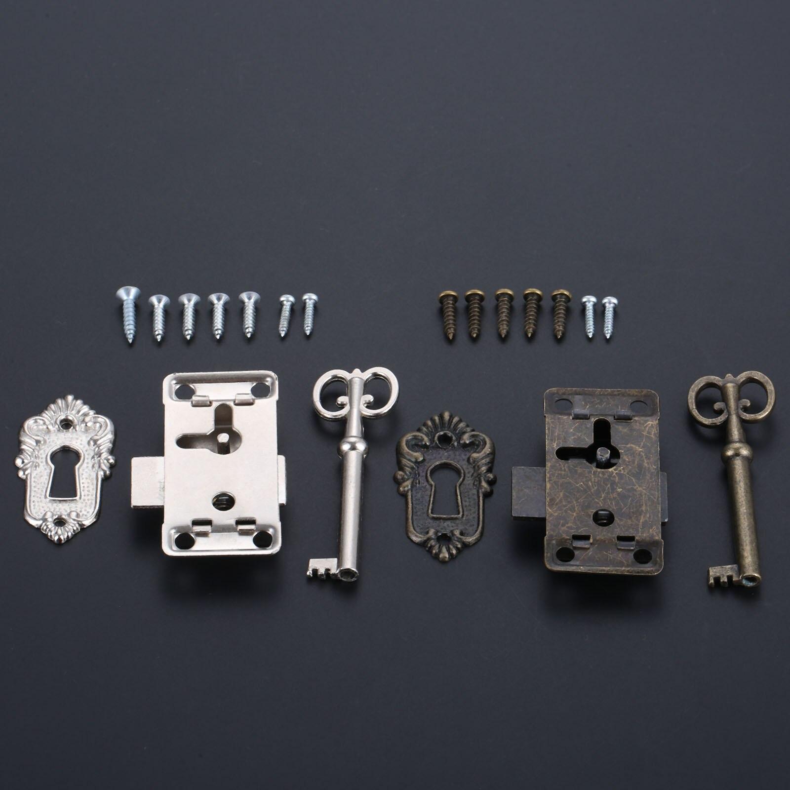 DRELD Antique Iron Door Lock Drawer Jewelry Wood Box Cabinet Wardrobe Cupboard Door Lock + Key Furniture Hardware Silver/Black
