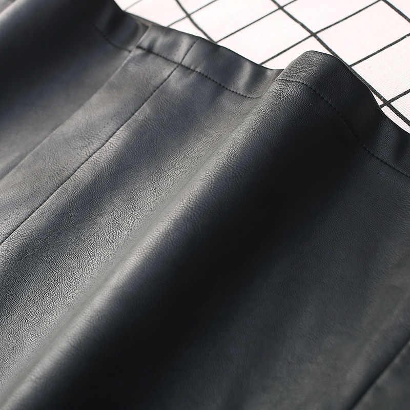 פו עור מפוצל חצאיות אלגנטי נשים גבוהה מותן חגורת משרד ליידי בתוספת גודל גדול 4xl שחור Streetwear סתיו חורף האביב