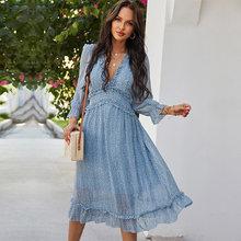 2021 frühjahr Neue Sexy V-ausschnitt Print Kleid Frauen Casual Schmetterling Hülse Hohe Taille Kleid Für Frauen Sexy Sommer Chiffon kleid