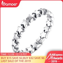 BAMOER HOT SALE Silver 925 Stackable Finger Ring For Women Wedding 100% 925 Sterling Silver Jewelry 2019 HOT SELL PA7151(China)