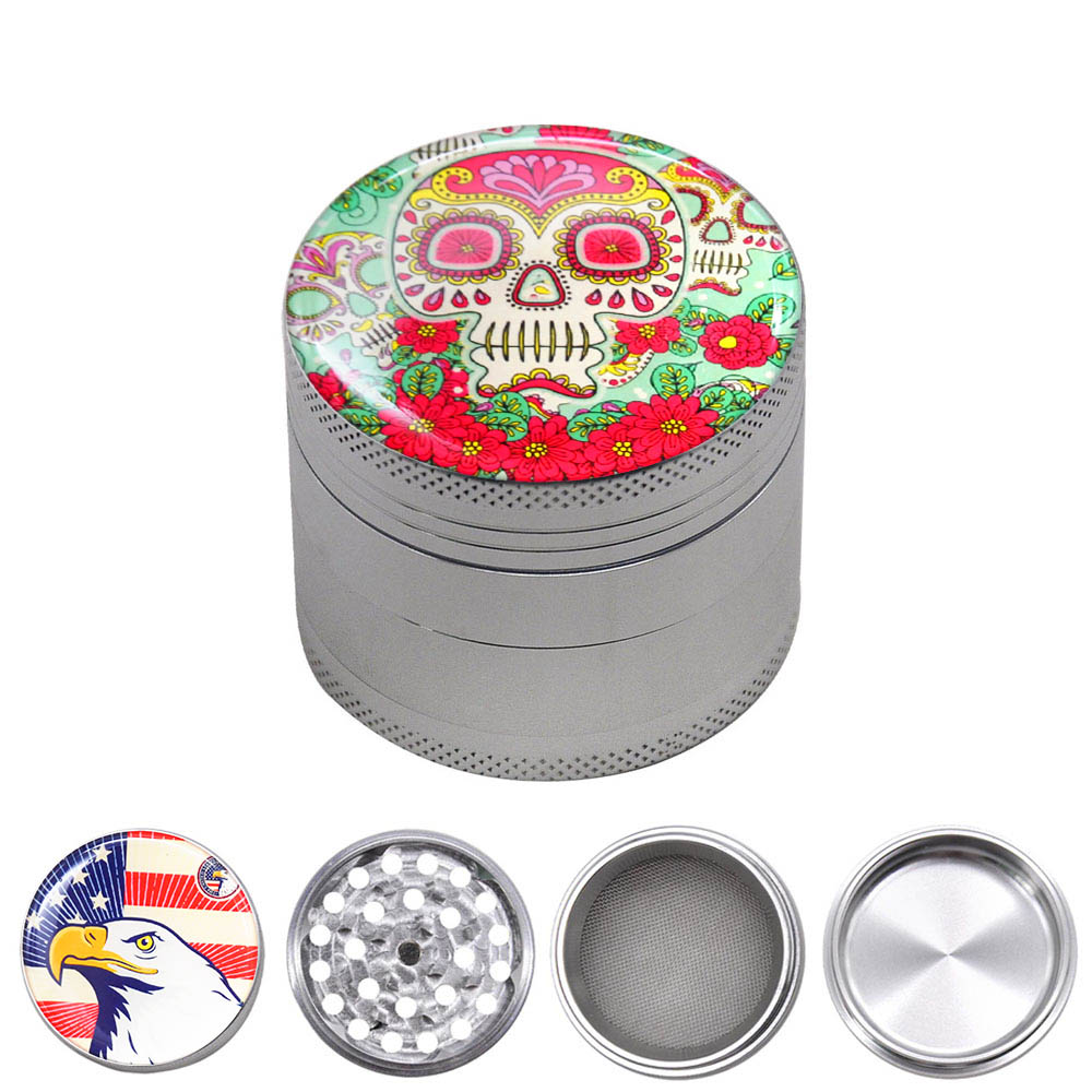New Aircraft Aluminum Grinder Smoking Herb Grinders 50MM 4 Piece CNC Teeth Tobacco Spice Herb Grinder with Pollen Catcher