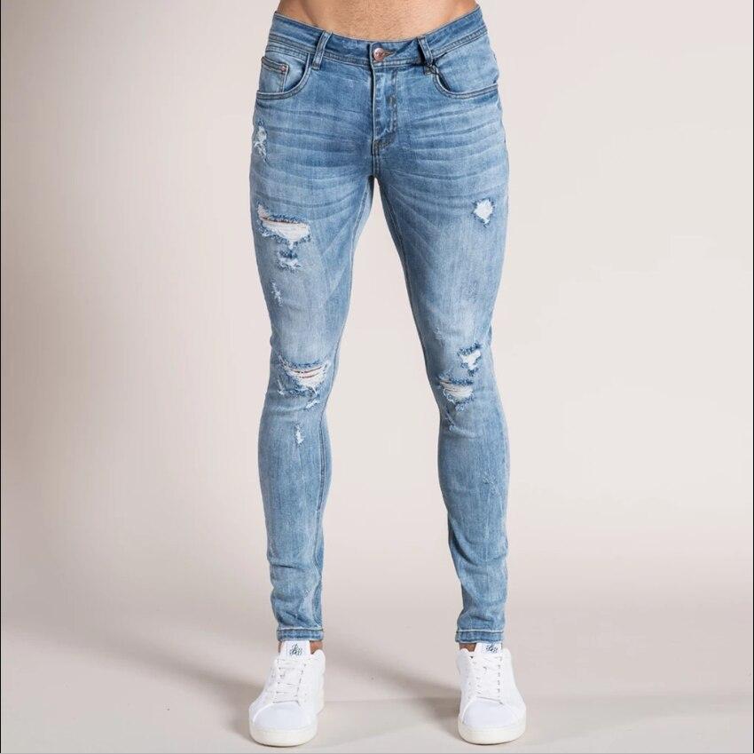 Новинка, обтягивающие джинсы для мужчин, уличная одежда, рваные джинсы, Homme, хип-хоп, Broken modis, мужские узкие байкерские штаны с вышивкой - Цвет: 1958