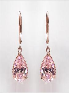 Diamond Earring Garnet Gemstone Pink Topaz Rose-Gold 14K Women Fashion for Bizuteria