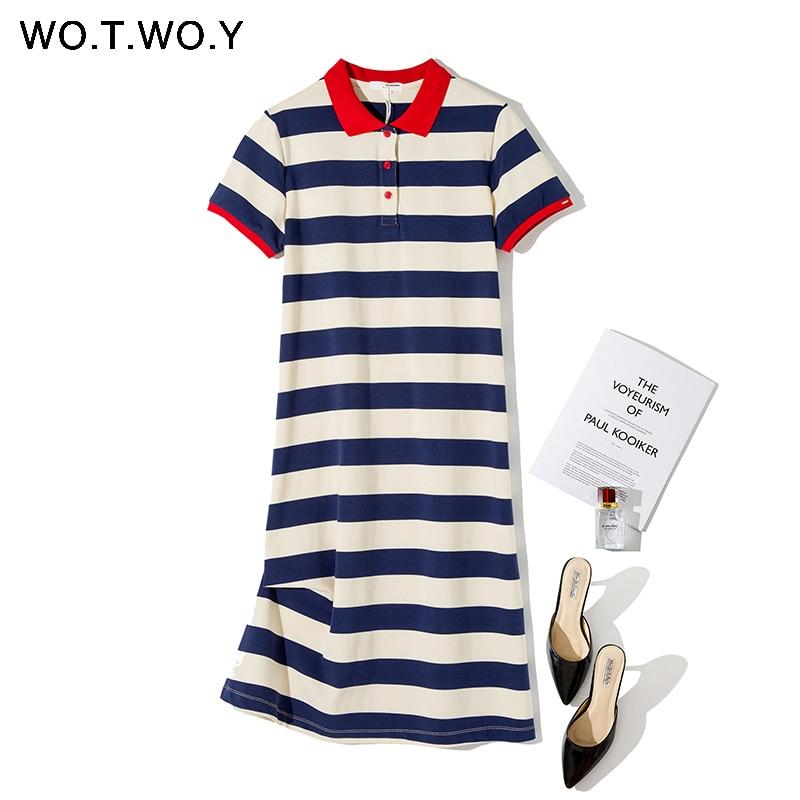 WOTWOY Summer Striped Plus Size Polo Dress Women Knited Cotton Long T-shirt Dresses Women Casual Short-sleeved Vestidos De 3XL