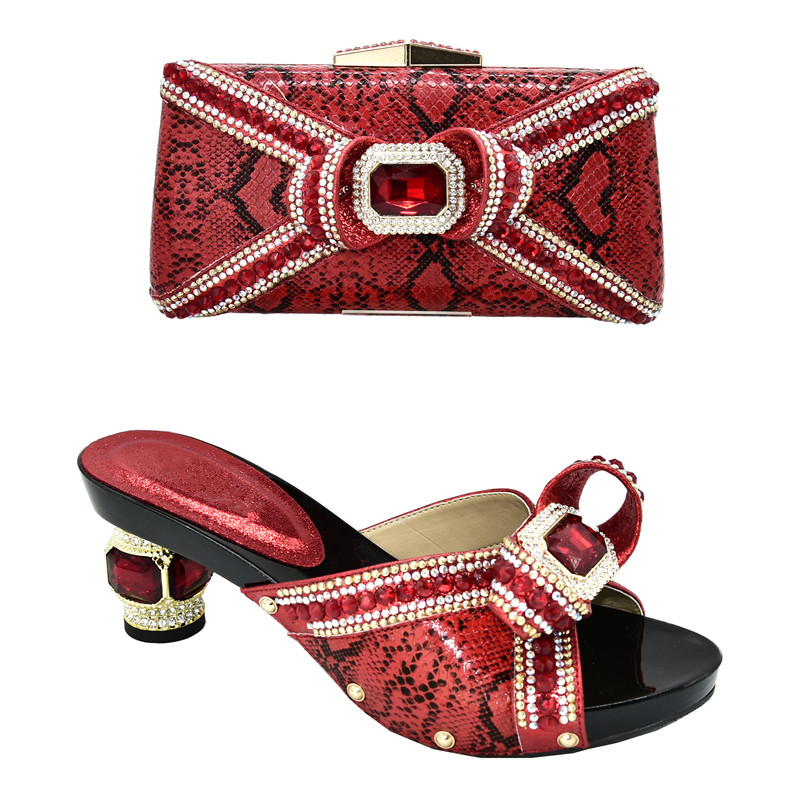 2020 African Wedding Shoes and Bag Set Decorated with Rhinestone Luxury Shoes Women Designers Italian Shoe and Bag Set for Party