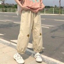 Женские брюки с высокой талией и цветочной вышивкой элегантные