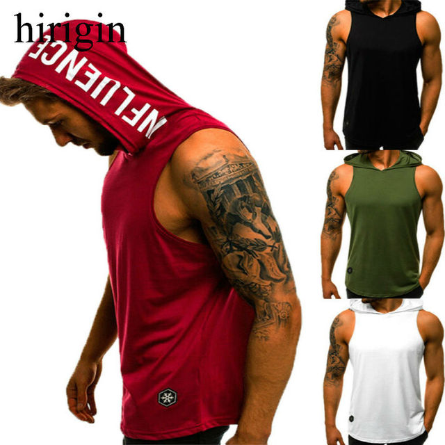 hirigin 2020 Men's Cotton Sleeveless Hoodie Bodybuilding Workout Tank Tops Muscle Fitness Shirts Male Jackets Top