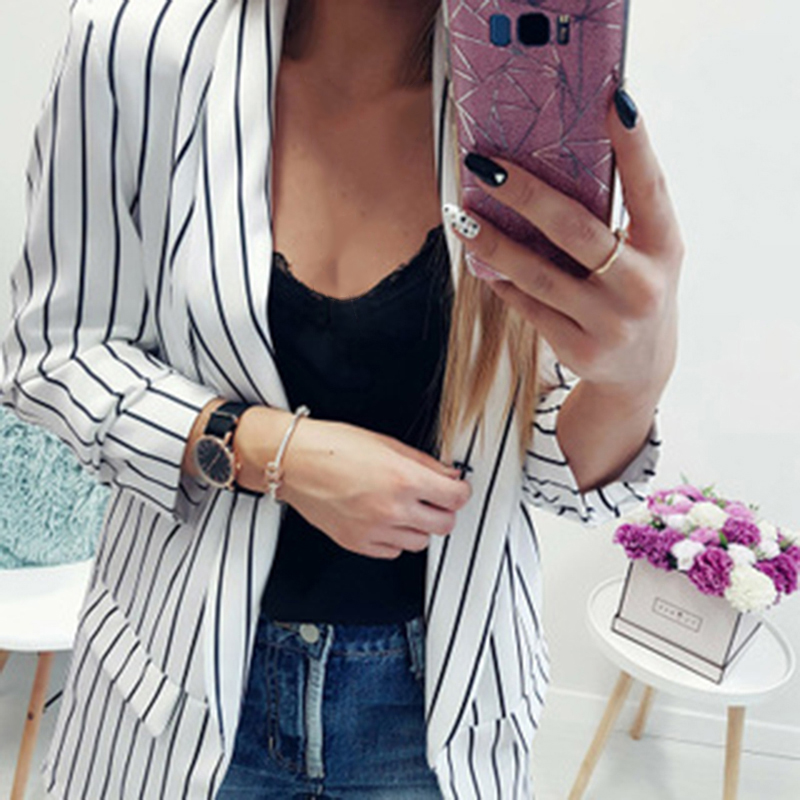 New Blazer Women Stripe Suits Sexy Cardigan Long Sleeve Women Blazers And Jackets Autumn Winter Coats Formal Full Polyester