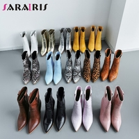 SARAIRIS Brand Fashion Plus Size 33 46 Vintage Ladies High Heels Boots Women Shoes Party Shopping Western Boots Shoes Woman