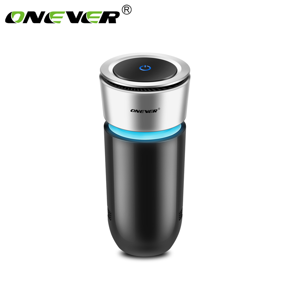 Onever Car Air Purifier 12V Negative Ions Air Cleaner Pm2.5  Ionizer Air Freshener Auto Mist Maker Eliminator Cup Car Charger