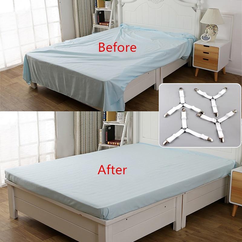4Pcs/Set Bed Sheet Clip Bed Sheet Belt Fastener Mattress  Elastic Non-Slip Nylon Clips Bed Tidy Blanket Gripper White and Black