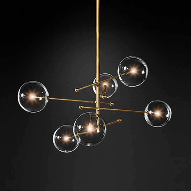 현대 디자인 유리 공 샹들리에 6 머리 투명 유리 버블 램프 샹들리에 거실 주방 블랙/골드 전등