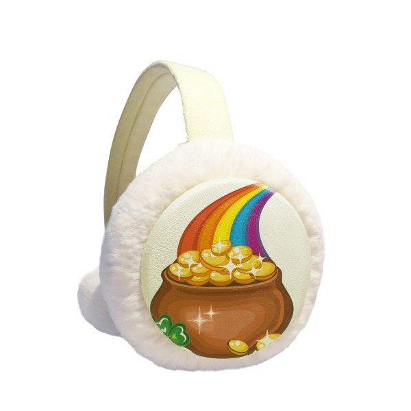 Clover Shine Rainbow Ireland St.Patrick's Day Winter Earmuffs Ear Warmers Faux Fur Foldable Plush Outdoor Gift