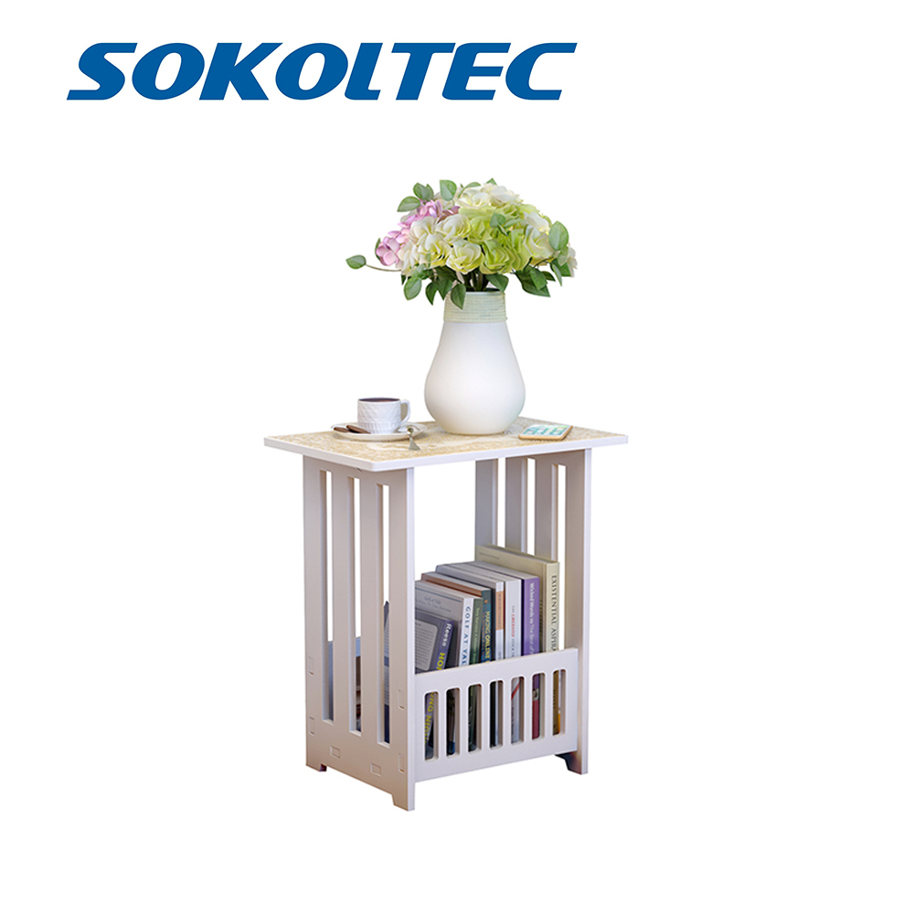 SOKOLTEC Simple Mini Plastic Coffee Tea Table Round Home Living Room Bookcase Shelf Bedside Cabinet White Furniture