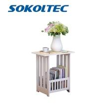 SOKOLTEC Simple mini plastic coffee tea table round home living room bookcase shelf bedside cabinet white furniture