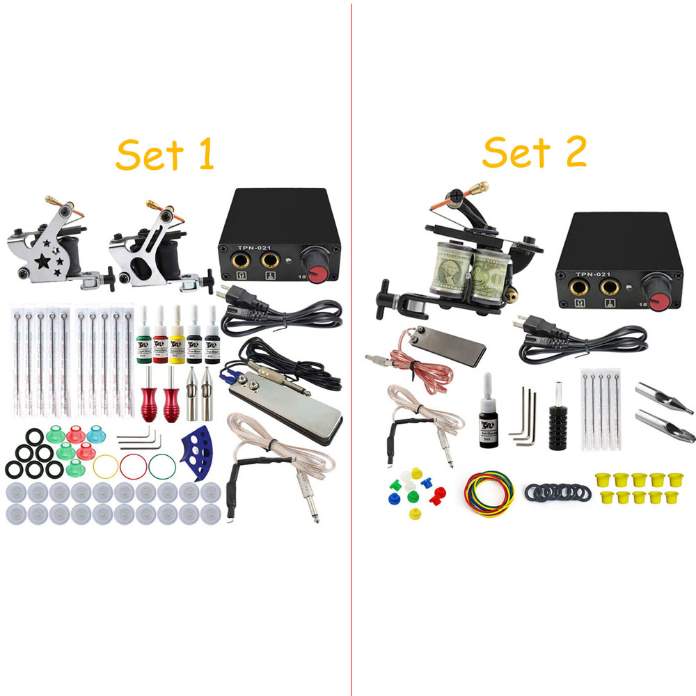 Kit complet de Machine à tatouer ensemble 2 bobines pistolets 5 couleurs noir Pigment ensembles puissance tatouage débutant poignées Kits maquillage Permanent - 6