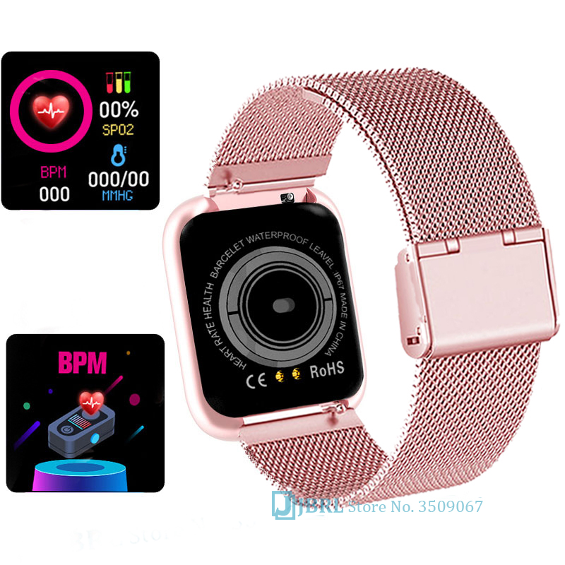 Hd9b8e090833f45e8a04bf8d138fb4fe1G 2021 Ladies Sport Bracelet Smart Watch Women Smartwatch Men Smartband Android IOS Waterproof Fitness Tracker Smart Clock Mens