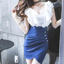 Dress 2019Top Fashion Women Sexy V-Neck Ruffles Button Split Bodycon Chiffon Mini