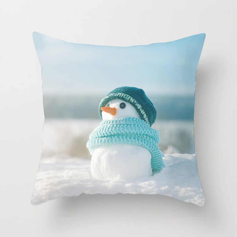 Sigle-z jednostronnym nadrukiem poliester nordycki dekoracyjny poszewka na poduszkę boże narodzenie bałwan kwadratowa poszewka na poduszkę Sofa dekoracja łóżka