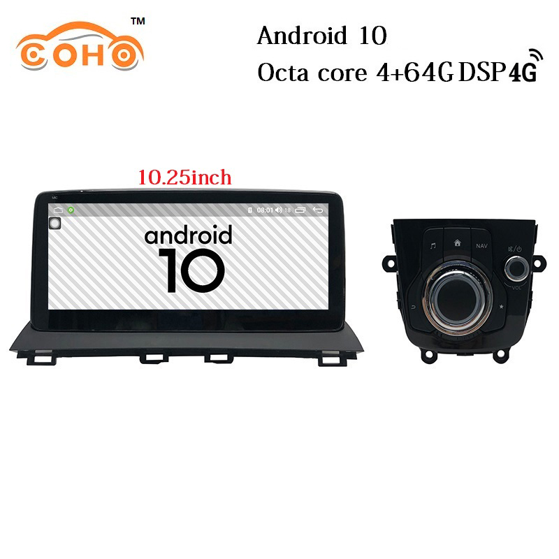 Android 10 Octa Core 10.25Inch Tesla Car Stereo Multimidia 1Din Car Radio For 2014-2018 Mazda 3 image