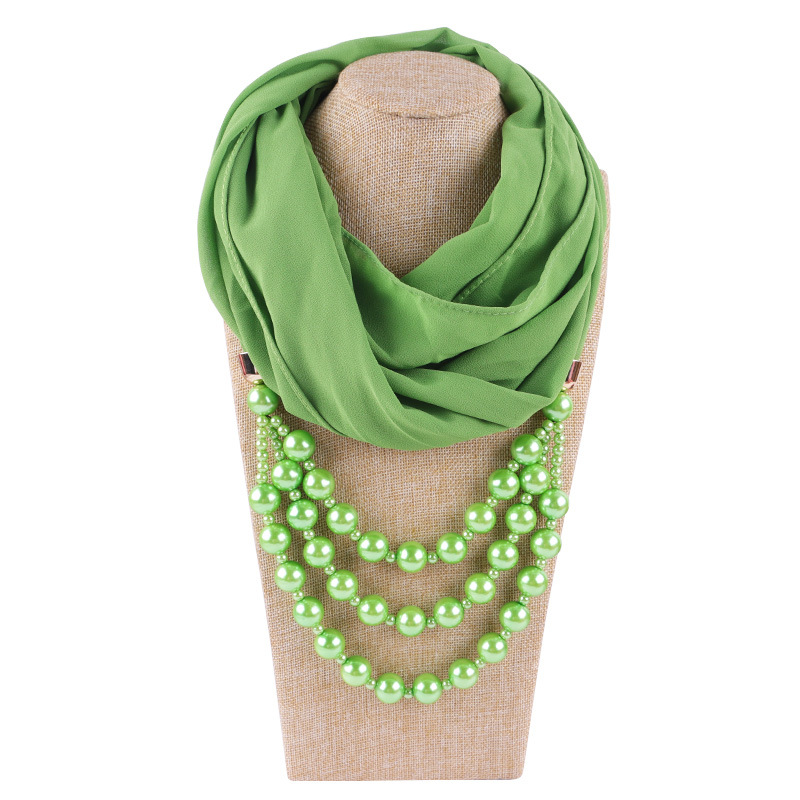 2020 NEW Arrival Chiffon Jewelry Statement Necklace Pearl Pendant Scarf Women Neckerchief  Foulard Femme Accessories