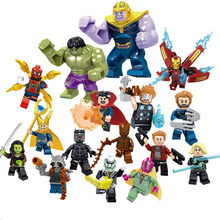 Legoelys Super Eroi Marvel the Avengers 3 figure Iron Man Thanos Falcon Gamora Hulk Building Blocks giocattoli di azione(China)