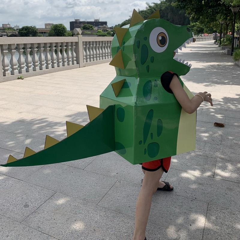 DIY Paper Material Arts Cartoon Animal Costumes For Kids Dinosaur Giraffe Cartoon Costume Children Stage Show Halloween Costume