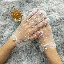 Новинка 1 пара изящество осень лето женщины шорты тюль перчатки эластичное кружево пятна лотос лист прозрачные гибкие аксессуары полный палец