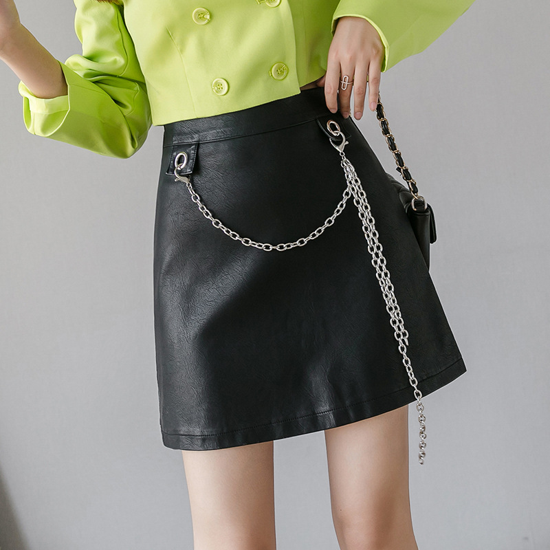 2019 Autumn New Style Autumn WOMEN'S Dress Korean-style High-waisted Chain Trend Pu Small Leather Skirt Clothing