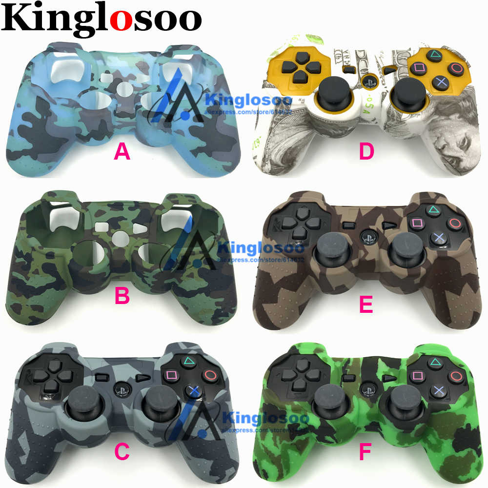 Decals Camo Silicone Gel Rubber Soft sleeve Skin Grip Cover Case Protective Skin for Playstation 3 PS3 Game Controller