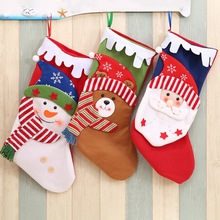 Christmas Stocking Santa Claus Socks Gift Bag Kids Xmas Decoration Candy Bauble Tree Ornaments Supplies x