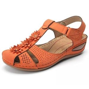Image 4 - BEYARNEPlus size fashion flower summer sandals for women wedge beach shoes Woman Comfortable high heel shoes lightweight platfor
